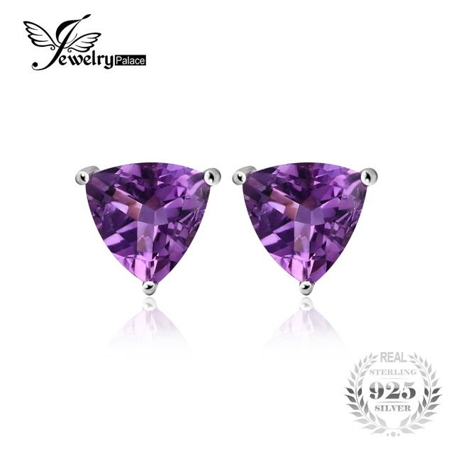 JewelryPalace Trillion 1.9ct Natural Purple Amethyst Birthstone Stud Earrings Solid 925 Sterling Silver TLq7w