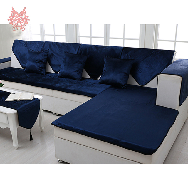 Free Shipping Royal Blue Velvet Sofa Cover Flannel Plush Slipcovers Furniture Couch Covers Fundas De