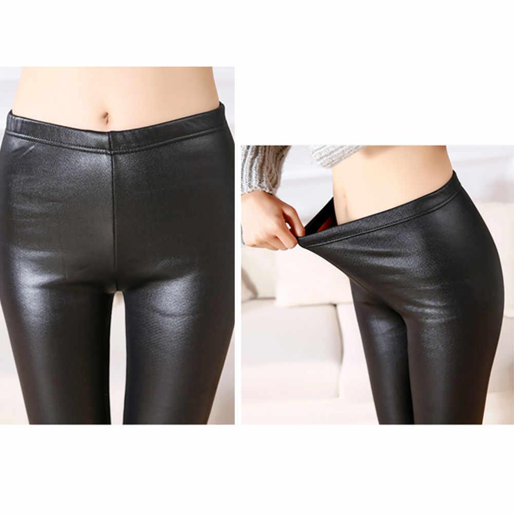 Женские кожаные джинсы колготки с высокой талией Skinny узкие брюки, леггинсы feb12