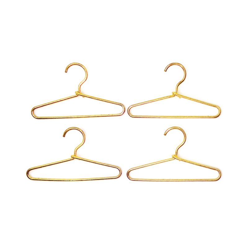 4pcs 1:12 Miniature Dollhouse Clothing Hangers Bedroom Wardrobe Decor Doll House Accessories Gift