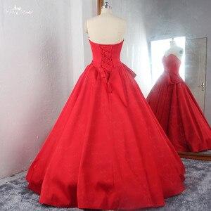 Image 5 - RSE895 عالية الجودة الفاخرة مطوي تنورة الكرة ثوب مع إزالة التنورة الداخلية الأحمر الزفاف اللباس الحرير