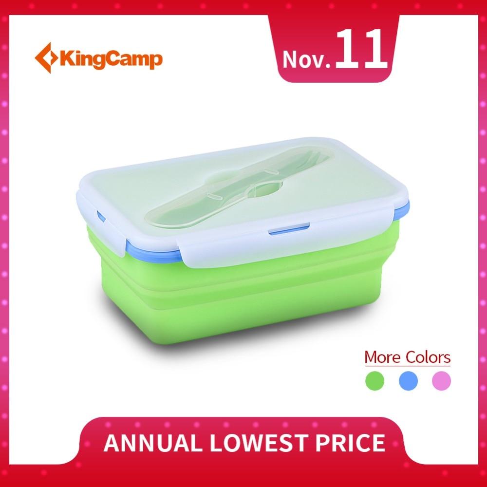 KingCamp In Silicone Pieghevole Bpa Microonde Lavastoviglie Freezer Sicuro Lunch Box di Un Vano Contenitore di Alimento con Spork