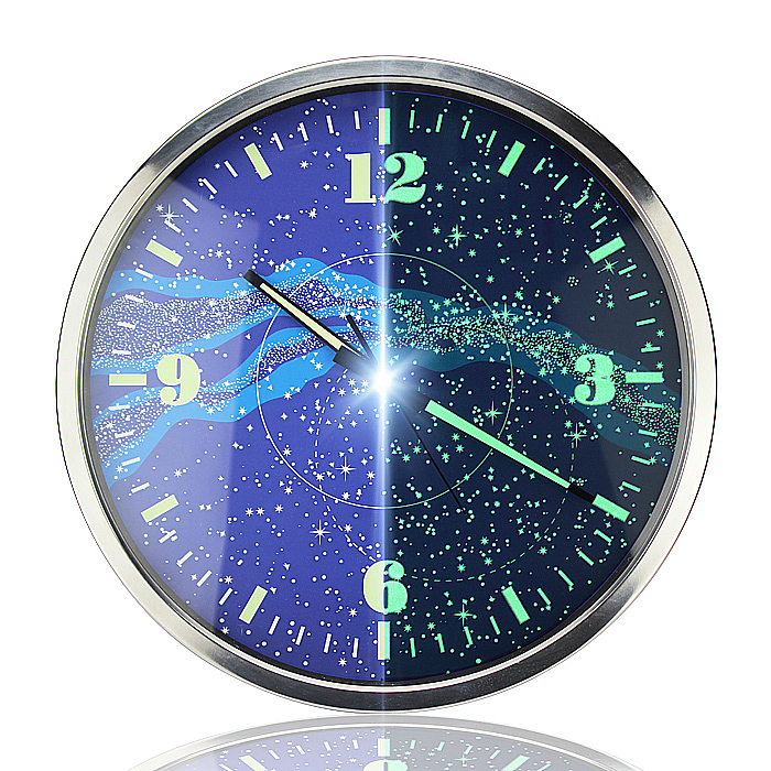 14 Inches Galaxy Luminous Mute Fashion Shi Luminous Wall Clock Bracket Sitting Room Bedroom Control LED Display Clock