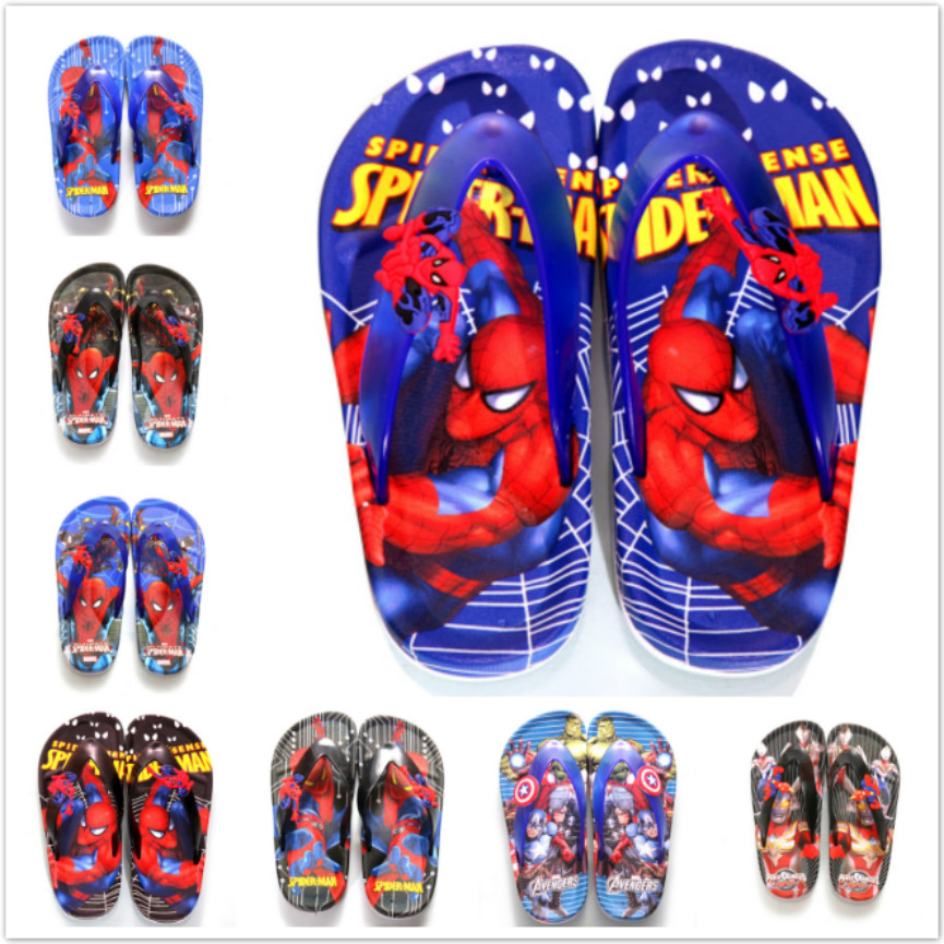 Children Sandals Boys Summer Shoes Cartoon Slippers Fashion Spiderman Designer Beach Flip Flops Girls Flat Sandals Shower Slides