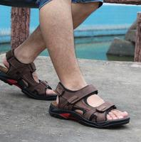 2016 Big Size 48 Camel Mens Sandals Slippers Genuine Leather Cowhide Sandals Outdoor Casual Men Leather