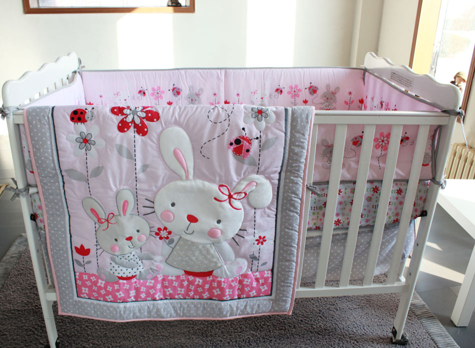 Promotion! 7PCS Embroidery baby crib bedding set child bedding crib set,include(bumper+duvet+bed cover+bed skirt)