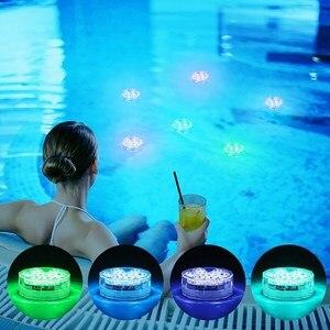 Luz de Piscina subacuática con control remoto LED RGB, 10 LED, luz sumergible resistente al agua, Luces para Piscina, estanque, decoración para fiestas