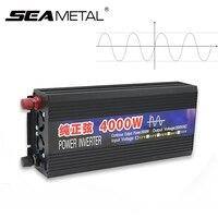 Инвертор 12 В 220 В автомобильный инвертор 4000 Вт 2000 Вт Мощность чистая Синусоидальная волна инвертор трансформатор конвертер дисплей питания