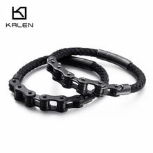 KALEN Hip Hop Bike Chain Charm Bracelets For Men 21cm Stainless Steel Black/Brushed Chain Leather Bracelet Rock Jewelry rock layered chain bracelet for men