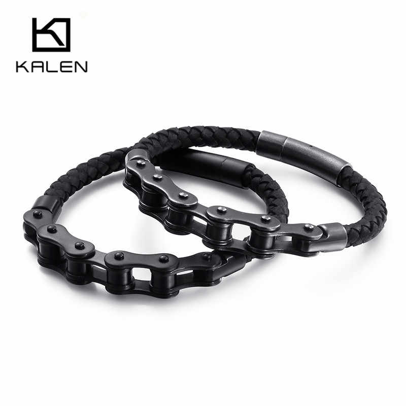 KALEN Hip Hop vélo chaîne bracelets porte-bonheur pour homme 21cm acier inoxydable noir/brossé chaîne cuir Bracelet Rock bijoux