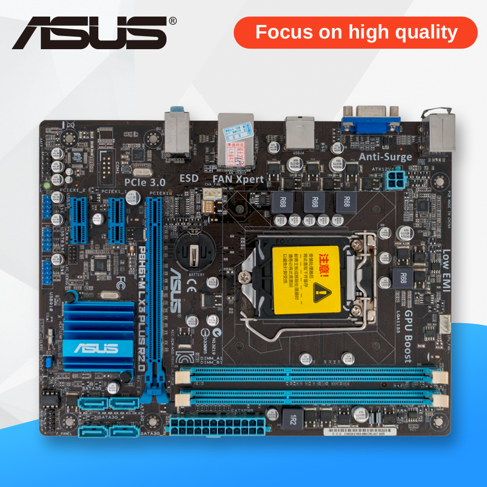 Asus P8H61-M LX3 PLUS R2.0 Desktop Motherboard H61 Socket LGA 1155 i3 i5 i7 DDR3 16G uATX original desktop motherboard m5a78l m lx3 plus for asus 780 series