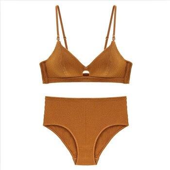 TERMEZY High Quality Cotton Underwear Set Fashion Striped Bra Set Noble Girl Lingerie Set Push Up Bra Sexy Bra And Panty Sets 4