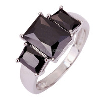Wholesale Splendide Emerald Cut Black Spinel 925 Silver Women's Fashion Party Ring Size 7 8 9 10 Free Shipping