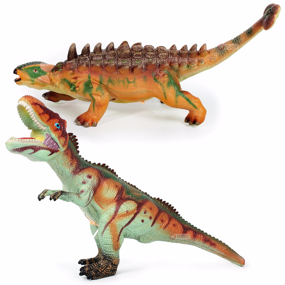 Jurassic Big Dinosaur toy Tyrannosaurus Rex Ankylosaurus Soft Plastic Animal Model Kids Gifts 37 cm tyrannosaurus rex with platform dinosaur mouth can open and close classic toys for boys animal model without retail box