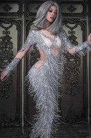 Women New Long Sleeve Sparkly Rhinestones Jumpsuits Silver Glass Stones Tassels Jumpsuit Sexy Female Nightclub DJ DS Costumes
