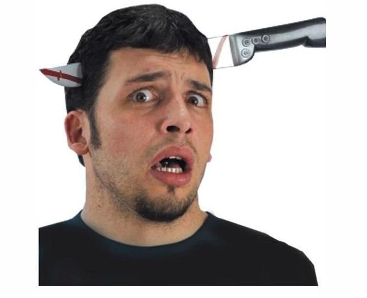 Hot Sale Prank Through Head/Finger Knife/nailhead Trick Magic Props April Fool Halloween Party Toy Fun Toys Drop Shipping