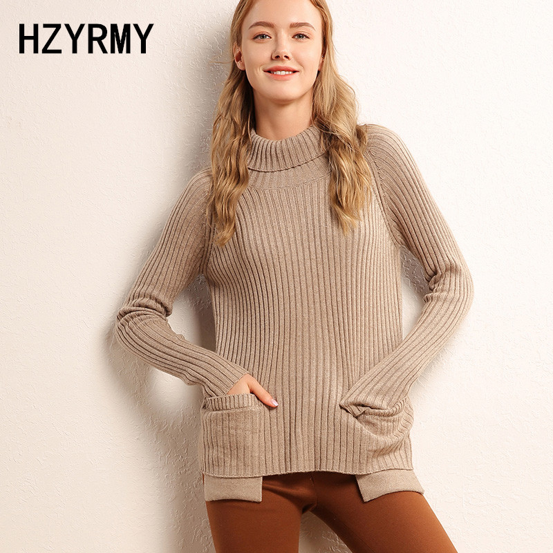 HZYRMY Autumn New Women High Collar Cashmere Sweater Solid Color Pocket Quality Pullover Winter Wool Fashion Female