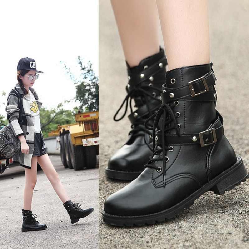 Kadın yarım çizmeler moda gotik ayakkabı Martin çizmeler kadın kış ayakkabı deri çizmeler toka kadın botları kış artı boyutu 43