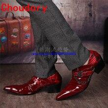 Choudory/мужская модельная обувь цвета красного вина с острым носком; свадебные туфли на высоком каблуке; кожаные туфли с ремешком и пряжкой; модные мужские туфли-оксфорды