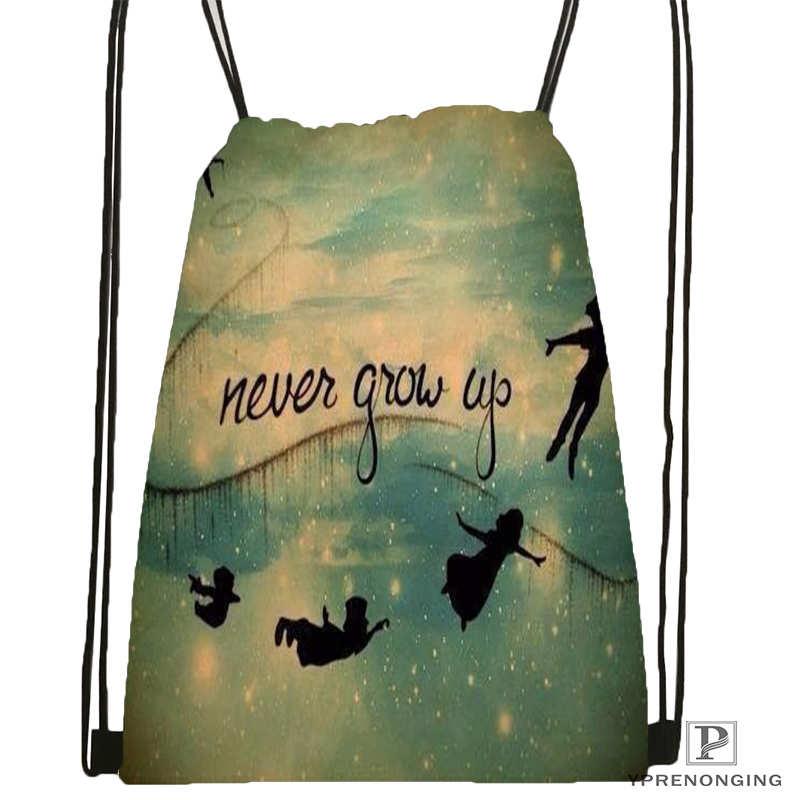 Custom Peter Pan Movie Drawstring Backpack Bag for Man Woman Cute Daypack Kids Satchel Black Back