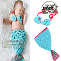 Mermaid Hand Crochet Newborn Photography Props Woolen Baby Girls Photo Booth Props Knitting Baby Halloween Costume