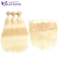 Beaudiva Hair 613 Blonde Straight Brazilian Hair Weave Human Hair 3 Bundles with Closure Non Remy Hair and Lace Frontal Closure