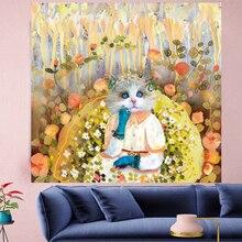 Cute Thinking kitten cartoon wall hanging Oil painting texture Tapestries kids room Wall carpet Hanging Home DecGN.PAPAYA