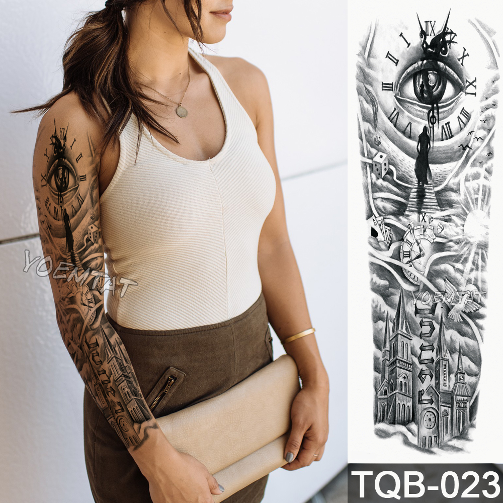 Brilliant New 48*17cm Full Flower Arm Tattoo Sticker Urban Modern Clock Temporary Body Paint Water Transfer Fake Tatoo Sleeve Fashionable And Attractive Packages Temporary Tattoos Beauty & Health