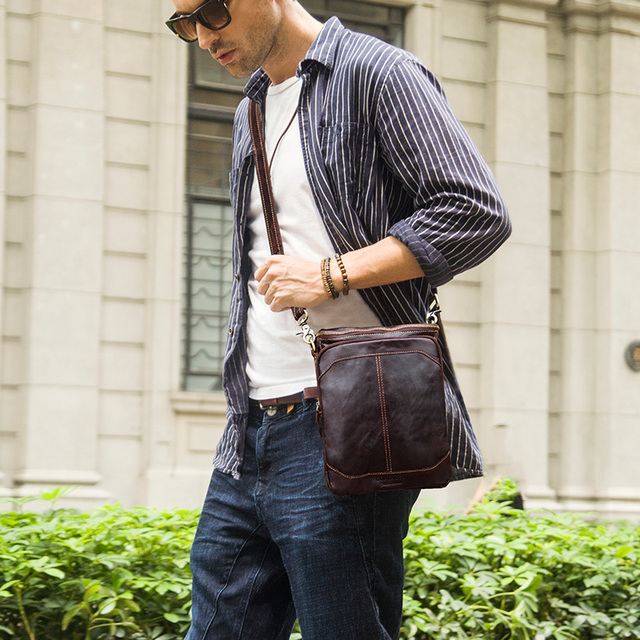 CONTACT'S HOT!! 2019 Genuine Leather Bags Men High Quality Messenger Bags Small Travel Dark Brown Crossbody Shoulder Bag For Men 4