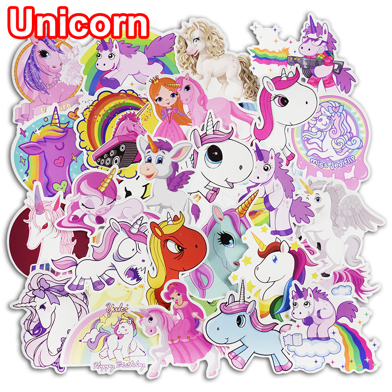 цена на 50 Pcs Unicorn Stickers for Laptop Skateboard Luggage Car Styling Bicycle Motorcycle Doodle Decals Cute Funny Waterproof Sticker