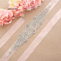 Wide Ribbon Beaded Evening Party Gown Dresses Accessories Wedding Belts Rhinestones Pearls Bride Bridal Sash Belt S213S