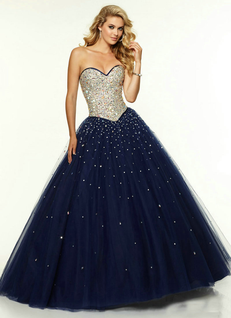 Long Navy Blue Prom Dress Tulle 2017 Long Corset A Line
