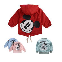 Toddler Kids Girls Jackets For Baby Clothes Cartoon Mickey Pattern Boys Hooded Windbreaker Dust Coat 80-130