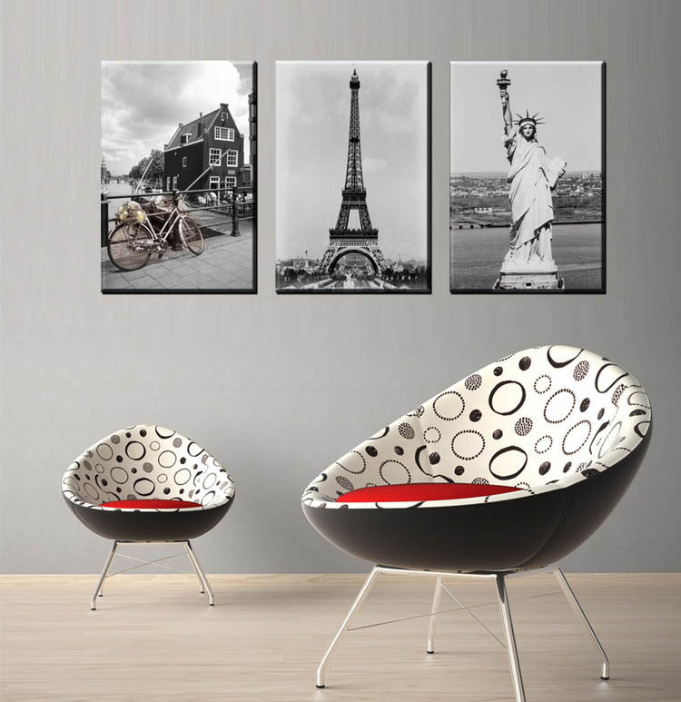 Modern Home decor painting Canvas Simple Black White Scenery Wall Mural Picture Art poster Family House Decoration Unframed