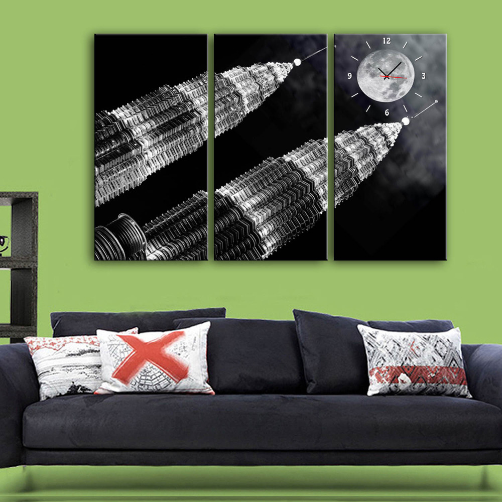 Free Shipping E-HOME The Tall Buildings Under The Moon Clock in Canvas 3pcs wall clockFree Shipping E-HOME The Tall Buildings Under The Moon Clock in Canvas 3pcs wall clock