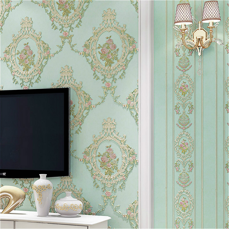 Victorian Vintage Green Floral Wallpaper Mirror Pattern Non Woven Retro Wall Paper Coverings In Wallpapers From Home Improvement On Aliexpress