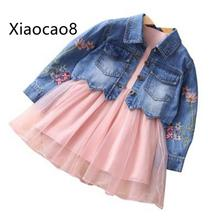 3-9 Years Girls spring autumn sets clothing 1 long sleeve cotton princess dresses+1Embroidered denim jacket kids sets clothes