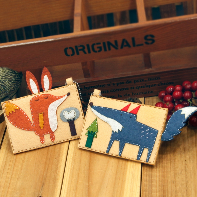 2pcs/set DIY Felt Applique Ornament Card Holder Lovely Fox Style Couple Card Holder DIY Felt Craft Needlework For A Warmer Life