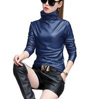 2017 Mới Mùa Xuân Phụ Nữ Chiffon Áo Thời Trang Elegent Dài Tay Áo Sơ Mi Nữ Pu Leather Tops Blusas Femininas Cộng Với Kích Thước 4XL