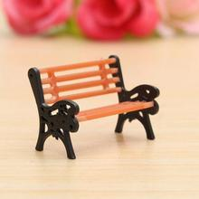 1 Pcs Resin Crafts Modern Park Benches Miniature Fairy Garden Miniatures for Doll House Courtyard Decoration Accessories Toys