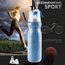 Creative Double-deck Spray Sports Portable Water Bottle Cup Outdoor Travel Riding Gym Plastic Glass Cold