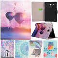 "Cute Cartoon Girl Owl Air Balloon Bird Flower Stand Flip Leather Case For Samsung Galaxy Tab E 9.6"" T560 T561 Tablet Cover Coque"