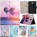 "Cute Cartoon Girl Owl Air Balloon Bird Flower Stand Flip Leather Case For Samsung Galaxy Tab E 9.6"" T560 T561 Tablet Cover Coque"