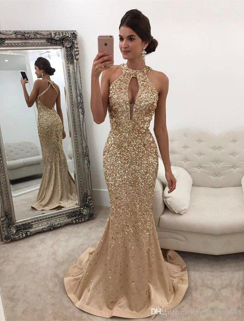 New Arrival Mermaid Evening   Dress   2019 O-Neck Sleeveless Floor length Beading Chiffon   Prom     Dresses   Robe de soriee