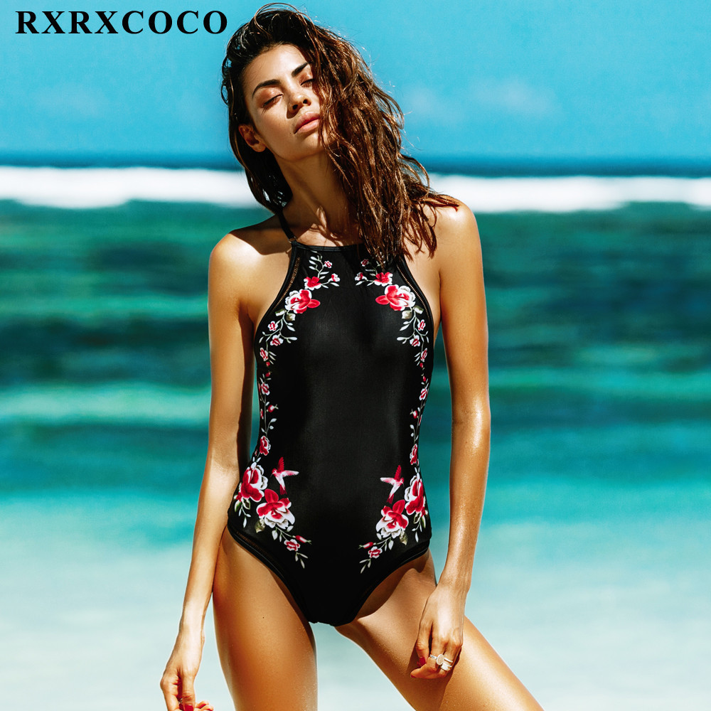 RXRXCOCO Newest Embroidery Swimwear Women One Piece Swimsuit Push Up High Neck Bodysuit Set Sexy Floral Swimming Suit Monokini