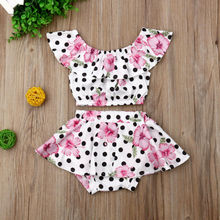 Baby Girl Clothes Flower Print Polka Dot Outfits Set