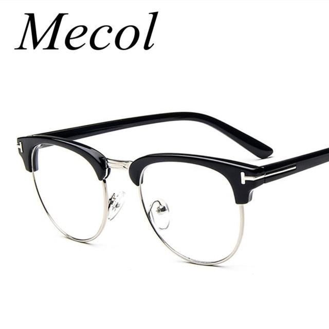 2016 Classic T Shape Half Frame Retro Glasses Frame Men and Women ...