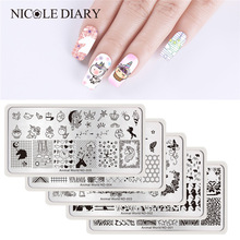 NICOLE DIARY Nail Stamping Plate Rektangel Round Square Animal World Series Nail Art Bildplatta Rektangel Stencil for Nails