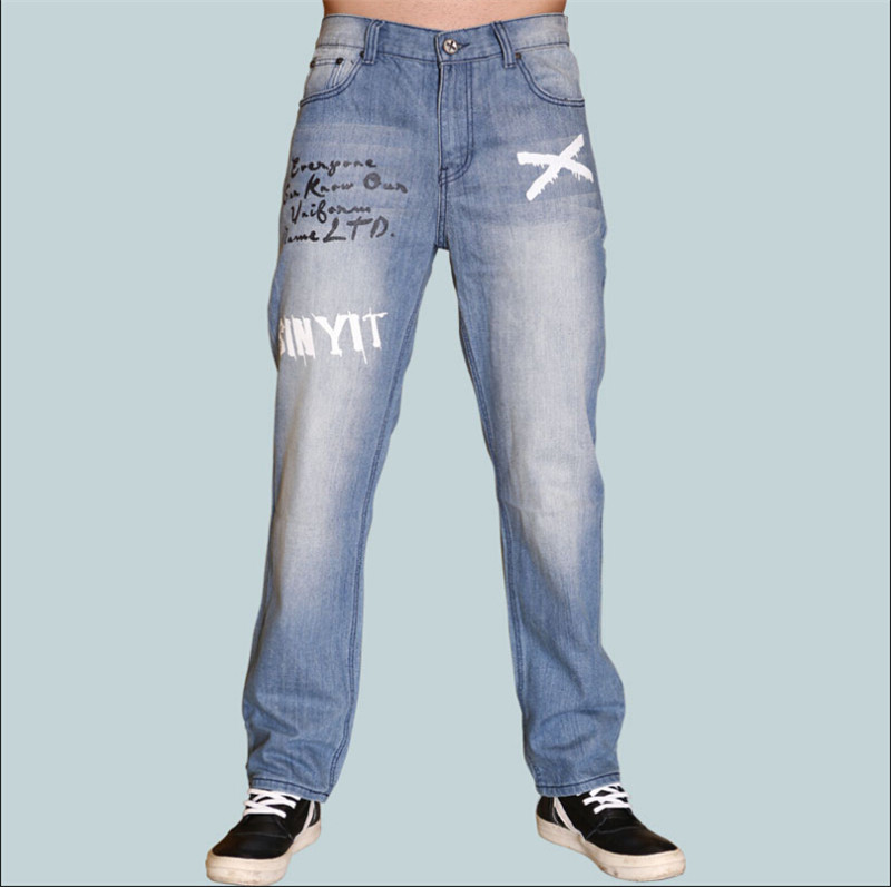 ФОТО 2017  Men Fashion Street Dance Denim Baggy Pants Casual Loose Skateboard Trousers  Hip Hop Jeans