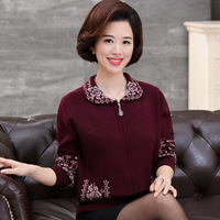 Spring Autumn Middle Aged Women Elegant Print Cashmere Sweaters Casual Long Sleeve Cardigan Outwear Plus Size M 4XL